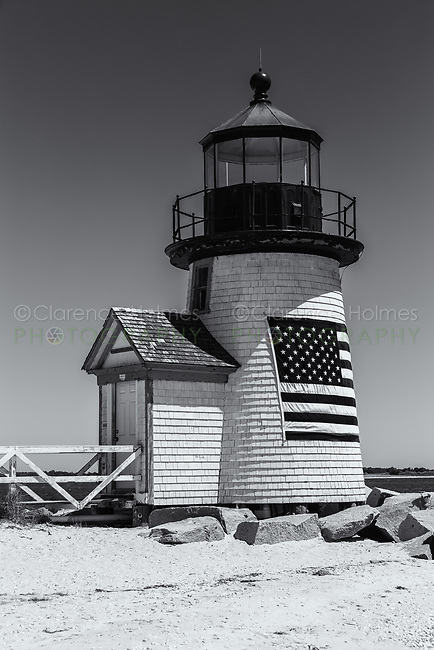 Brant Point Lighthouse protects mariners entering Nantucket Harbor on Nantucket Island.