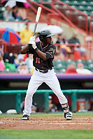 Erie SeaWolves right fielder Daz Cameron (15) at bat during a game against the New Hampshire Fisher Cats on June 20, 2018 at UPMC Park in Erie, Pennsylvania.  New Hampshire defeated Erie 10-9.  (Mike Janes/Four Seam Images)