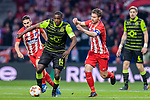 Gabriel Fernandez Arenas, Gabi, of Atletico de Madrid (R) fights for the ball with William Carvalho of Sporting CP (L) during the UEFA Europa League quarter final leg one match between Atletico Madrid and Sporting CP at Wanda Metropolitano on April 5, 2018 in Madrid, Spain. Photo by Diego Souto / Power Sport Images