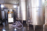 Stainless steel fermentation and storage tanks. Cobo winery, Poshnje, Berat. Albania, Balkan, Europe.