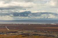 Overview of the coastal town of Nome, Alaska, Norton Sound, Bering Sea.