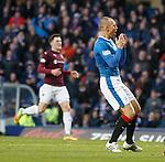 Kenny Miller looks on in horror as he misses an open goal