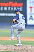 Brooklyn Cyclones pitcher Mitch Ragan (48) delivers a pitch during a game against the Asheville Tourists on May 7, 2021 at McCormick Field in Asheville, NC. (Tony Farlow/Four Seam Images)