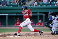 Shortstop Christian Koss (8) of the Greenville Drive during a game against the Brooklyn Cyclones on Friday, May 14, 2021, at Fluor Field at the West End in Greenville, South Carolina. The catcher is Jose Mena (16). (Tom Priddy/Four Seam Images)