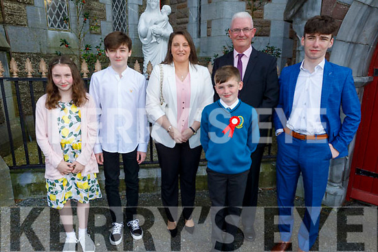 Luke O'Sullivan former student of Moyderwell NS now going to Mounthawk receiving his Confirmation in St Johns Church on Sunday.<br /> Kelly, Ben, Melanie, Martin and Michael O'Sullivan.