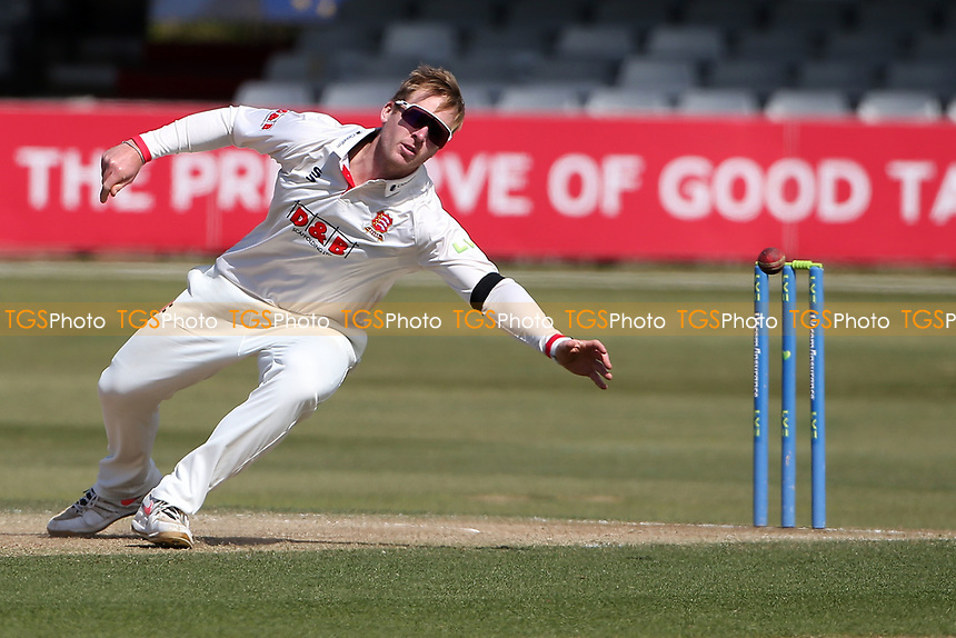 Simon Harmer of Essex goes close to a catch off his own bowling during Essex CCC vs Durham CCC, LV Insurance County Championship Group 1 Cricket at The Cloudfm County Ground on 18th April 2021