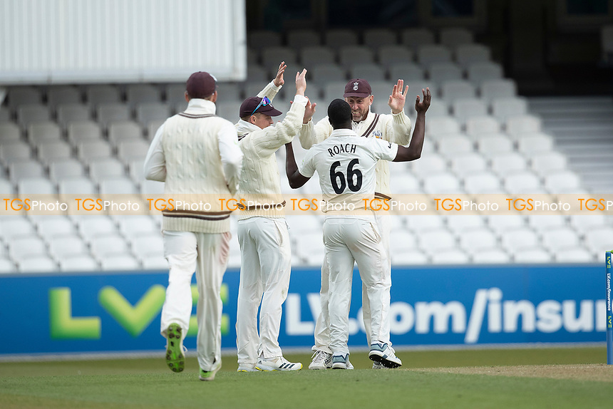 Kemar Roach celebrates with team mates following his 8-40 during Surrey CCC vs Hampshire CCC, LV Insurance County Championship Group 2 Cricket at the Kia Oval on 1st May 2021