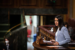 The president of Ciudadanos (Cs), Ines Arrimadas, during her speech at Pedro Sanchez's appearance on the Government's action regarding the application of the state of alarm and the Recovery, Transformation and Resilience Plan. April 14, 2021. (ALTERPHOTOS/Ciudadanos/Pool)