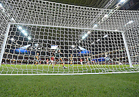 July 31, 2012..South Africa's Thokozile Mndaweni (18) attempts to save an attack  by Japan as Amanda Sister (4) watches her dive during Group F Women's Football match between JPN and RSA at the Millennium Stadium on day four of 2012 Olympic Games in Cardiff, United Kingdom...