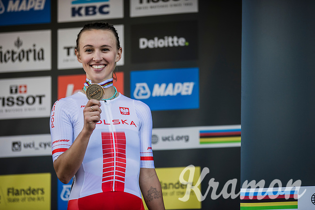 Katarzyna Niewiadoma (POL/Canyon Sram Racing) winning the Bronze Medal after finishing 3th place<br /> <br /> Women Elite – Road Race (WC)<br /> Race from Antwerp to Leuven (157.7km)<br /> <br /> ©kramon