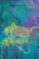 Detail of a contemporary quilt by artist Marie Jensen, using appliqué, a fusible web and hand painted fabrics.