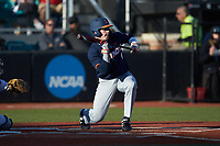 JacobCampbell (9) of the Illinois Fighting Illini squares to bunt against the Coastal Carolina Chanticleers at Springs Brooks Stadium on February 22, 2020 in Conway, South Carolina. The Fighting Illini defeated the Chanticleers 5-2. (Brian Westerholt/Four Seam Images)