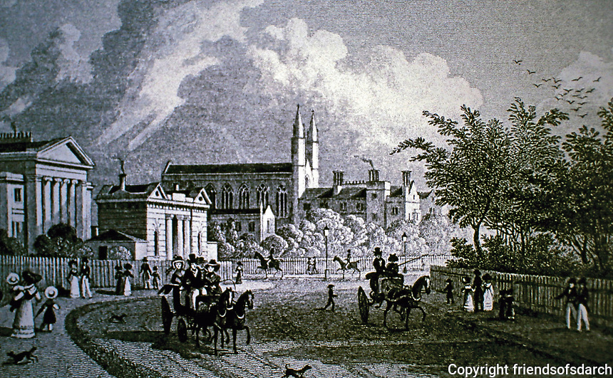 Picturesque view towards Gloucester Gate. Antique print by Thomas Shepherd of East Gate, a villa and St. Katherine's Hospital. 1828.