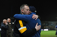 Newport County manager Michael Flynn hugs Middlesbrough manager Tony Pulis during the FA Cup Fourth Round Replay match between Newport County and Middlesbrough at Rodney Parade in Newport, Wales, UK. Tuesday 05 February 2019