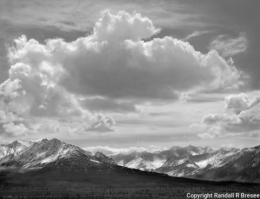 """""""View Along the Glenn Highway"""" <br /> Alaska <br /> <br /> The Glenn Highway connects Anchorage and Glennallen in southern Alaska. The Glenn Highway shows visitors spectacular mountains, glaciers and rivers. This black and white photo was recorded on the Glenn Highway during May 2016."""