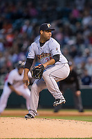 Scranton\Wilkes-Barre RailRiders relief pitcher Joel De La Cruz (34) in action against the Charlotte Knights at BB&T BallPark on May 1, 2015 in Charlotte, North Carolina.  The RailRiders defeated the Knights 5-4.  (Brian Westerholt/Four Seam Images)