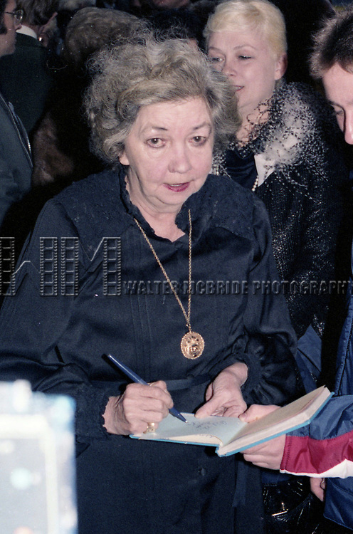 """Patsy Kelly attends the Opening Night of """"Sugar Babies""""  on October 8, 1979 at the Mark Helinger Theatre in New York City."""