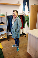 MAY 15, 2014 - KOJIMA, KURASHIKI, JAPAN: A shop owner pose in a shop at Jeans Street.  (Photograph / Ko Sasaki)