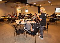 14-sept.-2013,Netherlands, Groningen,  Martini Plaza, Tennis, DavisCup Netherlands-Austria, Doubles,   umpires room<br /> Photo: Henk Koster