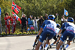 Local fans cheer on the riders during Stage 3 of the 2018 Artic Race of Norway, running 194km from Honningsvg to Hammerfest, Norway. 18th August 2018. <br /> <br /> Picture: ASO/Pauline Ballet | Cyclefile<br /> All photos usage must carry mandatory copyright credit (© Cyclefile | ASO/Pauline Ballet)