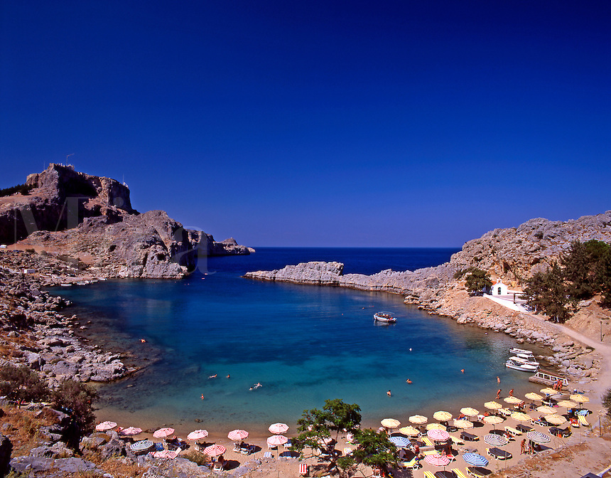 Greece. The harbor of St Paul at Lindos, Rhodes..Dodecanese Islands.