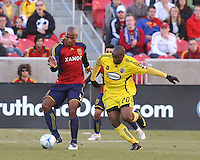 Real Salt Lake Defender Jameson Olave (4) and Columbus Crew defender Emilio Renteria (20) in the Real Salt Lake 1-0 win over Columbus Crew in Game 1 of the Semi-Finals of the MLS Playoffs on October 31, 2009 at  Rio Tinto Stadium in Sandy, Utah
