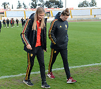 20190304 - LARNACA , CYPRUS :  Belgian Julie Biesmans and Yana Daniels pictured during a women's soccer game between Nigeria and the Belgian Red Flames , on Monday 4 th March 2019 at the GSZ Stadium in Larnaca , Cyprus . This is the third and last game in group C for both teams during the Cyprus Womens Cup 2019 , a prestigious women soccer tournament as a preparation on the Uefa Women's Euro 2021 qualification duels. PHOTO SPORTPIX.BE | DAVID CATRY