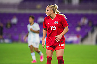 ORLANDO, FL - FEBRUARY 21: Adriana Leon #19 of the CANWNT waits for the corner during a game between Argentina and Canada at Exploria Stadium on February 21, 2021 in Orlando, Florida.