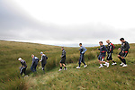 Players of Morecambe Football Club on a pre-season training run on Clougha Pike, Lancashire. The squad was preparing for the club's first-ever season in the Football League having been promoted from the Conference the previous season.  Photo by Colin McPherson.