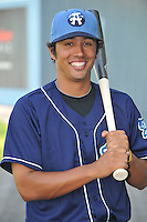 Joey Wong #1 of the Asheville Tourists poses during media day at McCormick Field on April 4, 2011 in Asheville, North Carolina.  Photo by Tony Farlow / Four Seam Images..