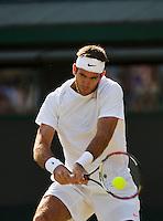 01-07-13, England, London,  AELTC, Wimbledon, Tennis, Wimbledon 2013, Day seven, Juan Martin Del Potro (ARG)<br /> <br /> <br /> <br /> <br /> Photo: Henk Koster