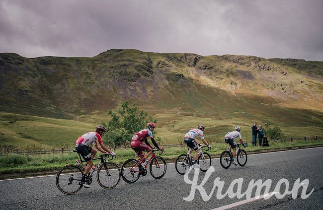 breakaway group consisting of TT masters Tony Martin (DEU/Katusha-Alpecin) & Vasil Kiryienka (BLR/SKY) who're turning this stage into a serious pre-Worlds TT training and who are joined by James Shaw (GBR/Lotto-Soudal) & Connor Swift (GBR/Madison-Genesis) in the proces<br /> <br /> Racing in/around Lake District National Parc / Cumbria<br /> <br /> Stage 6: Barrow-in-Furness to Whinlatter Pass   (168km)<br /> 15th Ovo Energy Tour of Britain 2018