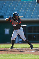 Lake Elsinore Storm third baseman Eguy Rosario (1) during a California League game against the Lancaster JetHawks on April 10, 2019 at The Hanger in Lancaster, California. Lake Elsinore defeated Lancaster 10-0 in the first game of a doubleheader. (Zachary Lucy/Four Seam Images)