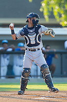 Princeton Rays catcher Nick Ciuffo (14) throws the ball back to his pitcher during the game against the Burlington Royals at Burlington Athletic Park on July 11, 2014 in Burlington, North Carolina.  The Rays defeated the Royals 5-3.  (Brian Westerholt/Four Seam Images)