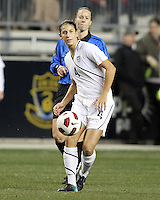 Yael Averbuch #4 of the USA WNT during an international friendly match against the PRC WNT at PPL Park, on October 6 2010 in Chester, PA. The game ended in a 1-1 tie.