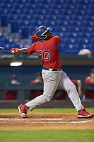 Tywone Malone (50) of Bergen Catholic HS in Jamesburg, NJ playing for the Boston Red Sox scout team during the East Coast Pro Showcase at the Hoover Met Complex on August 2, 2020 in Hoover, AL. (Brian Westerholt/Four Seam Images)