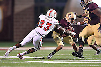 Texas State wide receiver C.J. Best (9) is brought down by Louisiana Lafayette safety Tracy Walker (23) during first half of an NCAA football game, Tuesday, October 14, 2014 in San Marcos, Tex. Louisana Lafayette leads 21-3 at the halftime. (Mo Khursheed/TFV Media via AP Images)