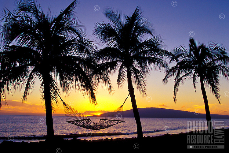 Palm trees with a hammock and a peaceful West Maui sunset.  The island of Lanai lies offshore.