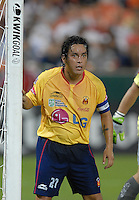 Monarcas Morelia defender Gustavo Trujillo (27) guards the right post during a corner kick.  Monarcas Morelia tied DC United 1-1 in the SuperLiga opening match in group B, at RFK Stadium in Washington DC, Wednesday July 25, 2007.