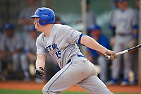 Central Connecticut State Blue Devils third baseman Buddy Dewaine (15) at bat during a game against the North Dakota State Bison on February 23, 2018 at North Charlotte Regional Park in Port Charlotte, Florida.  North Dakota State defeated Connecticut State 2-0.  (Mike Janes/Four Seam Images)