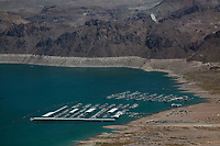 aerial photograph of  the low water levels of Lake Mead at Lake Mead Marina and Las Vegas Boat Harbor, Boulder City, Nevada