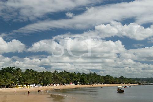 Praia da Concha, Itacare, Bahia State, Brazil. Tourist beach with sunshades.