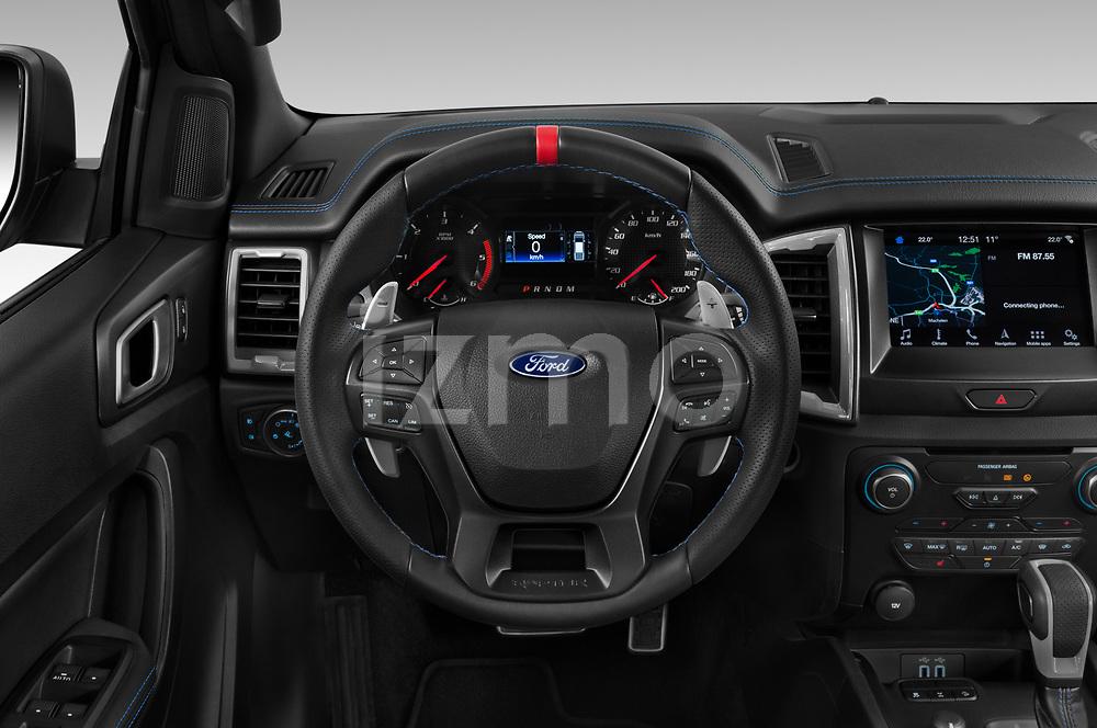 Car pictures of steering wheel view of a 2019 Ford Ranger-Raptor - 4 Door Pick-up Steering Wheel