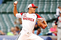 Pitcher Jose Berrios #7 of Bayamon, Puerto Rico delivers a pitch during the Under Armour All-American Game at Wrigley Field on August 13, 2011 in Chicago, Illinois.  (Mike Janes/Four Seam Images)