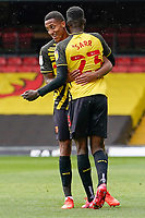 Joao Pedro (10) of Watford (left) celebrates with Ismaila Sarr (23) of Watford after he scores the opening goal during the Sky Bet Championship match between Watford and Luton Town at Vicarage Road, Watford, England on 26 September 2020. Photo by David Horn.