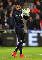 Sergio Romero of Manchester United celebrates the opening goal scored by team mate Jesse Lingard during the Carabao Cup Fourth Round match between Swansea City and Manchester United at The Liberty Stadium, Swansea, Wales, UK. Tuesday 24 October 2017