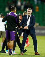 18th April 2021; HBF Park, Perth, Western Australia, Australia; A League Football, Perth Glory versus Wellington Phoenix; Ufuk Talay head coach of Wellington Phoenix shakes hands with the Glory staff after their victory