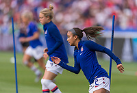 PARIS,  - JUNE 28: Mallory Pugh #2 warms up during a game between France and USWNT at Parc des Princes on June 28, 2019 in Paris, France.