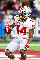 Indianapolis, IN - December 7, 2019: Ohio State Buckeyes wide receiver K.J. Hill (14) celebrates after scoring a touchdown during the Big Ten championship game Wisconsin and Ohio St. at Lucas Oil Stadium in Indianapolis, IN.   (Photo by Elliott Brown/Media Images International)