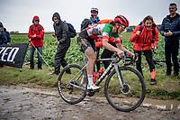 Elisa Longo Borghini (ITA/Trek Segafredo) on the Carrefour de l'Arbre cobbles<br /> <br /> Inaugural Paris-Roubaix Femmes 2021 (1.WWT)<br /> One day race from Denain to Roubaix (FRA)(116.4km)<br /> <br /> ©kramon